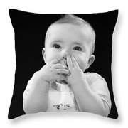 Baby Covering Mouth With Hands, C.1950s Throw Pillow