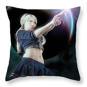 Baby Doll Shoots Back Throw Pillow