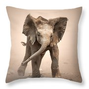Baby Elephant Mock Charging Throw Pillow