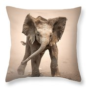 Baby Elephant Mock Charging Throw Pillow