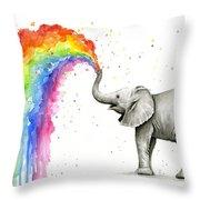 Baby Elephant Spraying Rainbow Throw Pillow