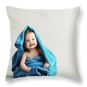 Baby Girl Covered With A Blue Warm Blanket Throw Pillow