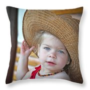 Baby Girl Wearing Straw Hat Throw Pillow