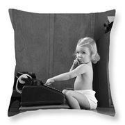 Baby Girl With Adding Machine, C.1940s Throw Pillow