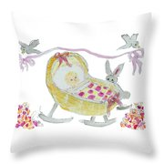 Baby Girl With Bunny And Birds Throw Pillow