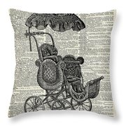 Baby Pram Over A Vintage Dictionary Page Throw Pillow by Anna W