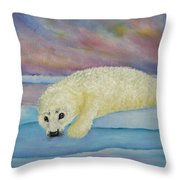 Baby Harp Seal Throw Pillow