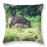 Baby Hippo 2 Throw Pillow