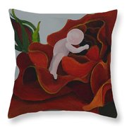 Baby In A Rose Throw Pillow