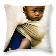 Baby In A Sling Throw Pillow