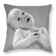 Baby In Sentimental Pose, C.1950s Throw Pillow