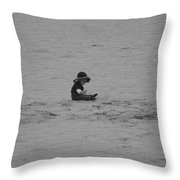 Baby In The Sand Throw Pillow