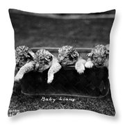 Baby Lions, C1900 Throw Pillow