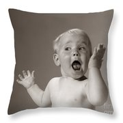 Baby Looking Excited, C.1960s Throw Pillow