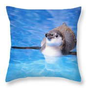 Baby Penguin Floating Throw Pillow