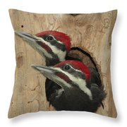 Baby Pileated Woodpeckers Peer Throw Pillow
