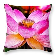 Baby Pink Lotus Throw Pillow