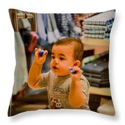 Baby Playing  Throw Pillow