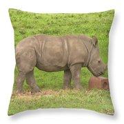 Baby Rhino Chilling Throw Pillow
