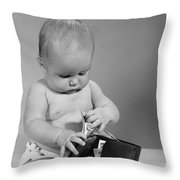 Baby Taking Money From Wallet, C.1960s Throw Pillow