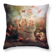 Baby Twins Throw Pillow