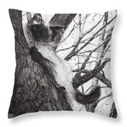 Baby Up The Apple Tree Throw Pillow