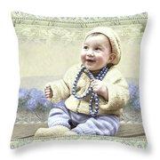 Baby Wears Beads Throw Pillow