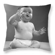 Baby With Odd Expression, 1950s Throw Pillow