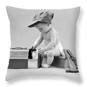 Baby With Work Tools And Lunch Pail Throw Pillow
