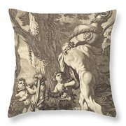 Bacchanal With Figures Carrying A Vase Throw Pillow