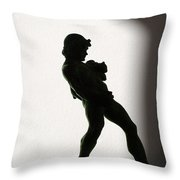Bacchus Statuette Shadow Silhouette Throw Pillow