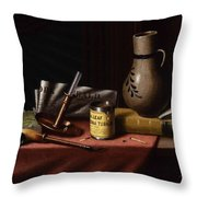 Bachelor S Table By William Michael Harnett Throw Pillow