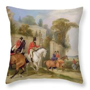 Bachelor's Hall - The Meet Throw Pillow by Francis Calcraft Turner