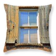 Back Alley Windows Of Savannah Throw Pillow
