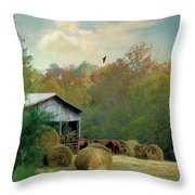 Back At The Barn Again Throw Pillow