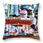 Back At The Barnyard Hayride Throw Pillow