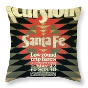 Back East Xcursions - Santa Fe, Mexico - Indian Detour - Retro Travel Poster - Vintage Poster Throw Pillow