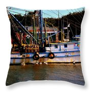 Back From A Long Day At Sea Throw Pillow