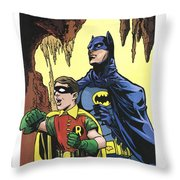 Back In The Batcave Throw Pillow