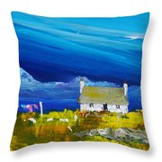 Back  Of Keppoch Cottage, Arisaig Throw Pillow