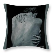 Back Of Naked Woman Throw Pillow