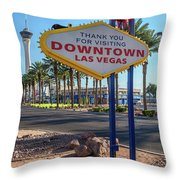 R.i.p. Back Of The Welcome To Downtown Las Vegas Sign Day Throw Pillow