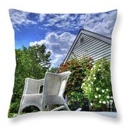 Back Porch In Summer Throw Pillow