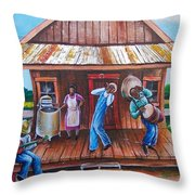 Back Porch Jamming Throw Pillow