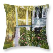 Back Porch Of Grove Plantation, Ace Basin Throw Pillow
