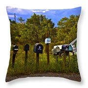 Back Road Mailboxes Throw Pillow