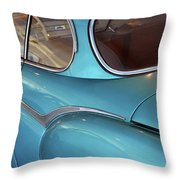 Back Side Of A Blue Vintage Car  Throw Pillow