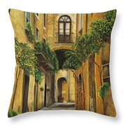 Back Street In Italy Throw Pillow by Charlotte Blanchard