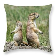 Back To Back Prairie Dogs Throw Pillow