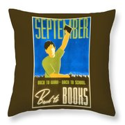 Back To Books Throw Pillow